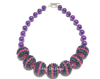 Toddler or Girls Hot Pink, Purple and Green Chunky Necklace - Bling and Pearl Necklace - Purple Mermaid Necklace - Valentines Day Necklace