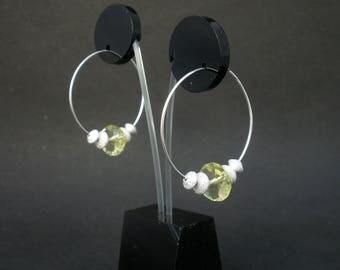 Gemstone Lemon Quartz Faceted Rondelle Shape, 925 Sterling Silver Sandblast Rondelle Shape,  925 Sterling Silver 30mm Hoop Earrings