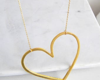 Big Gold Heart Necklace