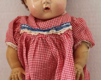 """Vintage 1950's 12"""" American Character Tiny Tears Doll with Caracul Wig"""