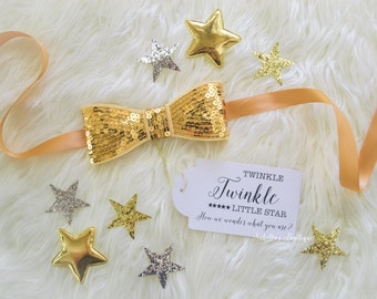 Twinkle Twinkle Little Star Gold Yellow Maternity Sash Gender Reveal Pregnancy Maternity Baby Shower It's a Girl It's a Boy Baby Photography