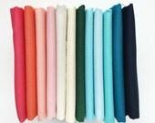 Amalfi by Rifle Paper Co Solid Coordinates, Kona Cotton, Fat Quarter or Half Yard Bundle, Kona by Robert Kaufman