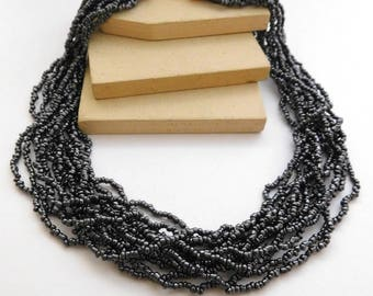 Retro Vintage Silver Gray Seed Bead Layered Multi-Strand Necklace N1