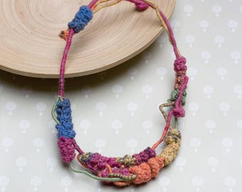 Simple colorful necklace, rustic crochet jewelry, multi strand necklace, OOAK
