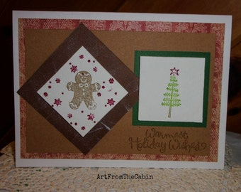 Gingerbread Man Card, Christmas Tree Card, Snowflake Card, Holiday Wishes, Stamped Card, Gingerbread Man, Tree, Star, ArtFromTheCabin