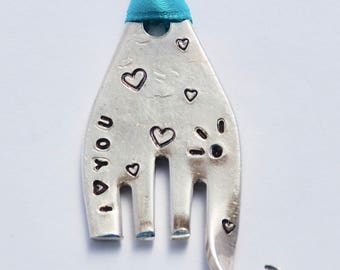Elephant Ornament I (heart) YOU  // Eyelashes & Hearts // made from Recycled Fork with TEAL Ribbon