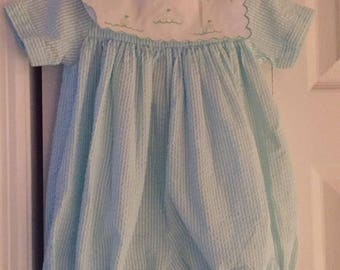 Baby Girl or Boy Special Occasion Blue and White Sophie Dess Romper Embroidered Scalloped Neckline