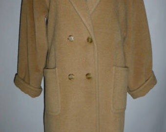 """Vintage Evan Picone Camel """"Boy Coat"""" , Double Breasted, 100% Wool. Size 12, Ca. 1970's, Made In USA"""