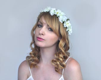 White Bridal Flower Hair Wreath | Flower Garland | Boho Bride | Flower Wreath | Bridal Headpiece | Ivory Flower Crown