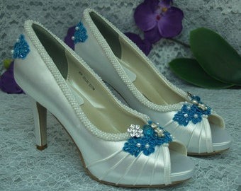 "Size 8 Wedding Shoes Turquoise Blue high heels Ready to ship, Brides Something Blue,Satin Peep Toe Pumps,Rouged Satin,3 1/4"" heels, Lace"