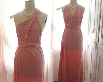 Goddess fairytale pink Versatile Infinity Dress Maxi Dress Bridesmaid Cocktail twist straps Halter Wedding Dress multi way