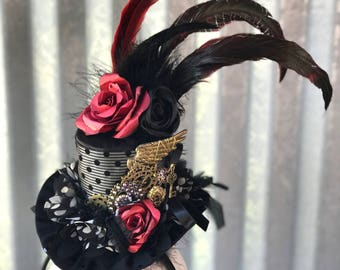 Black and Red Steampunk top hat - alice in wonderland - victorian - steampunk - cosplay - costume - photoshoot - tea party - red & black.