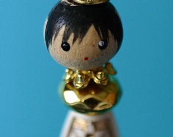 Princess Christmas ornament, handmade, beaded ornament, Asian, gold girl with crown, thin ornament, wood face bead, royalty, queen, skinny