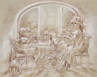 """Sisters, girls, tea party, art print, monotone brown """"Teatime With Big Sister"""" Laurie Shanholtzer, Choose size"""
