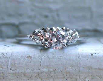 Vintage 14K White Gold Diamond Three Stone Engagement Ring with EGL cert- 1.23ct.