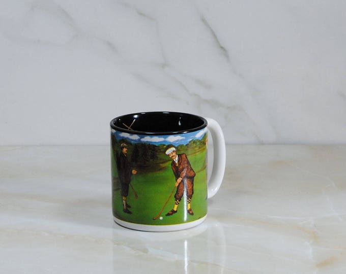 Vintage 1994 Golf Cup/Mug from Flowers Inc. Balloons, Bogart Georgia. Made in Korea Featuring golfers on the green in the 1920s!