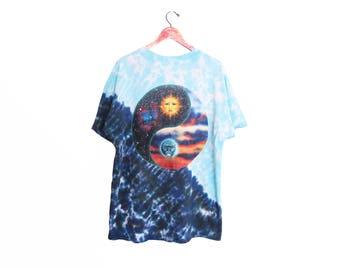 vintage t shirt / tie dye t shirt / yin yang t shirt / 1990s baggy tie dye Astronomy Sun and Moon t shirt XL