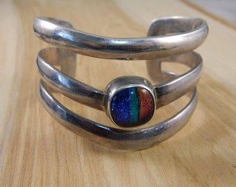 Large Sterling Silver Cuff Bracelet / Dichroic Glass Cuff / Three Band Massive Cuff Bangle Bracelet / Blue, Green, Purple Glass
