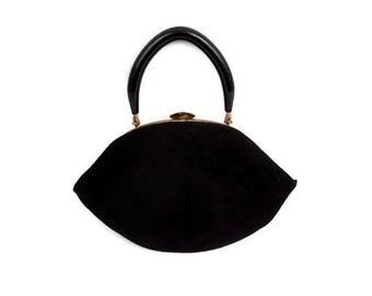 Vintage Morris Moskowitz Black Velvet Purse with Mirror Pink Satin Lining Lucite Handle Evening Bag