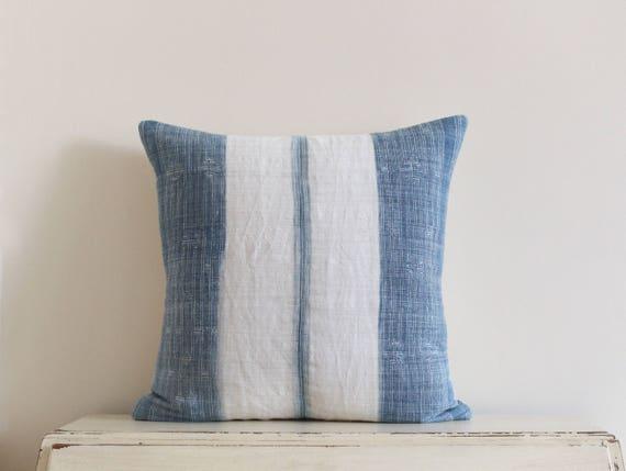 """Vintage Hmong indigo batik pillow cushion cover 20"""" x 20"""""""