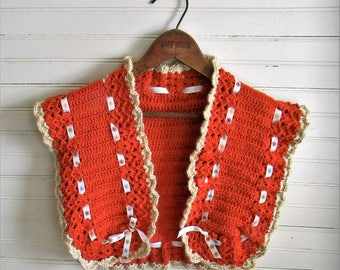 Girls Sweater Vest, 1970s Crochet Sweater Vest, Brown Knitted Vest, Girls Medium Sweater Vest, Kids 1970s 1980s Clothing, Handmade Vintage