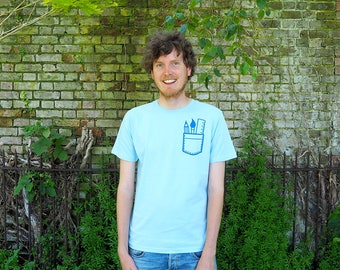 Artist Pocket T-shirt, Cute Screenprinted Pale Blue tee, Pocket T-shirt, Art T-shirt, Stationery Geek Tshirt, Pencil T-shirt
