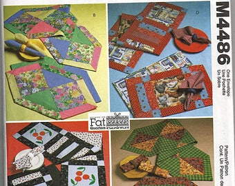 Fat Quarters Runners, Placemats and Napkins / Original McCall's Crafts Uncut Sewing Pattern M4486