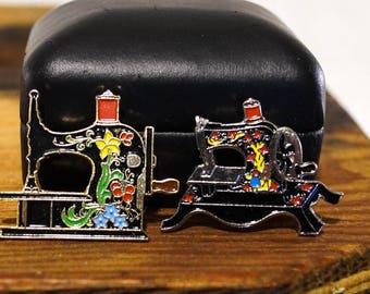 Vintage Sewing Machine Enamel Pins by Clotilde Set of 2