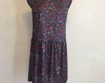 purple vintage dress, plus size vintage dress, floral print dress, 41-41-58