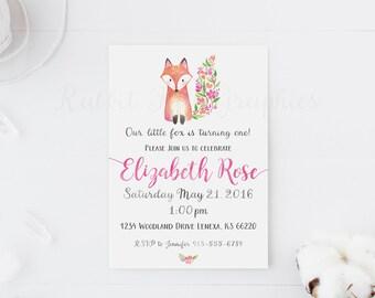 Fox birthday invitation, First birthday, Fox baby shower, Girl birthday, Woodland birthday, floral, watercolor, baby girl, Little Fox