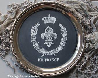 De France Chalkboard Tray French Kitchen Silver Serving Tray White Fleur de Lis Crown Design Wedding Romantic Shabby Cottage Farmhouse Decor
