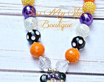 Halloween Chunky Bead Necklace/Mouse ears Gumball Machine Halloween Necklace for Girls/SALE