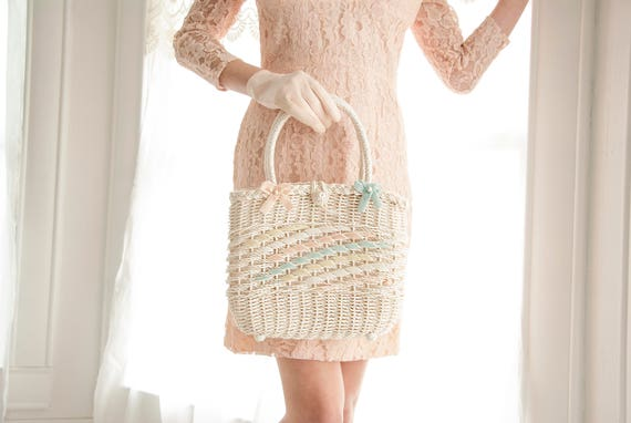 Vintage white basket purse handbag, woven wicker pastel pink blue velvet ribbon, 1950s 1960s