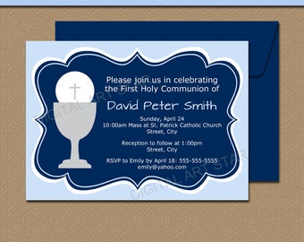 First Communion Invitation Template, 1st Communion Invitation, EDITABLE Holy Communion Invitation Printable Navy Blue, Instant Download FC1