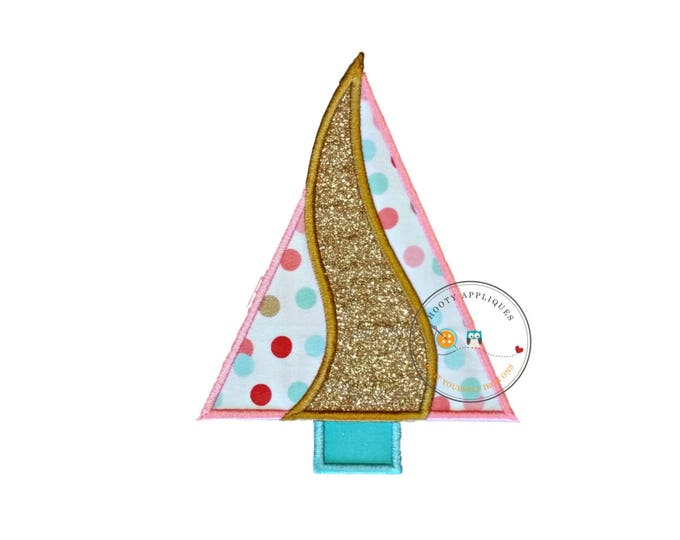 Pink and gold glitter Christmas tree machine embroidered fabric iron on no sew patch, holiday patch for kids clothing