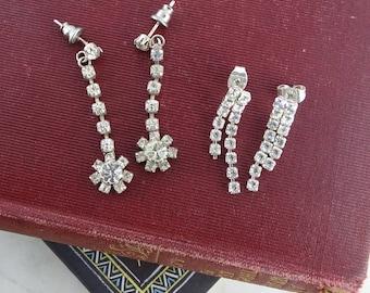 2 Pairs of Vintage Art Deco Rhinestone Earrings,  Silver Tone Flapper  Earrings, Pierced Earrings, Party Earrings, Vintage Bling