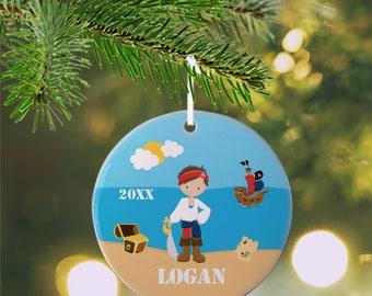 Personalized Kids Ornament - Pirate Boy Sea Island Treasure Ship, Children Christmas Ceramic Circle Heart Snowflake Star