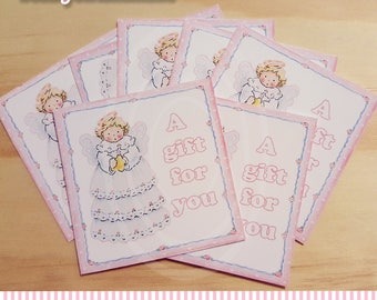 Baby Angel Gift Favor Tags New Baby Cards Angel tags Newborn baby shower gift card a gift for you tag a gift for you card baby girl cards