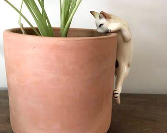 Vintage Ceramic Curious Cat Climber, Ceramic Cat Figurine