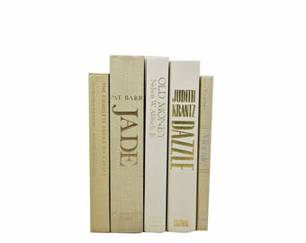 Beige IVory Decorative Books, White Book Set, Wedding  Decor Centerpiece, Book COllection, Old Books, Home Interior Design