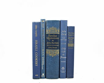 Navy Blue Antique Decorative Books, Old Book Set, Wedding Centerpiece, Book Stack, Vintage BOok Decor, Instant Library, Book Collection