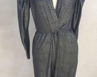 Vintage disco metallic jumpsuit black silver pockets sz 11/12 Medium