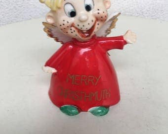 Vintage 1960s kitsch Merry Christhmuth Bell angel figure by Kreiss & Co Psycho Ceramics