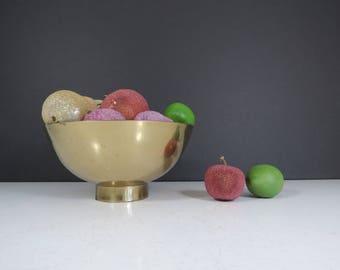 Modern Brass Bowl // Vintage Simple Sleek Brass Decorative Bowl or Fruit Dish Candy Bowl Trinket Dish Williamsburg Brass Shop Contemporary