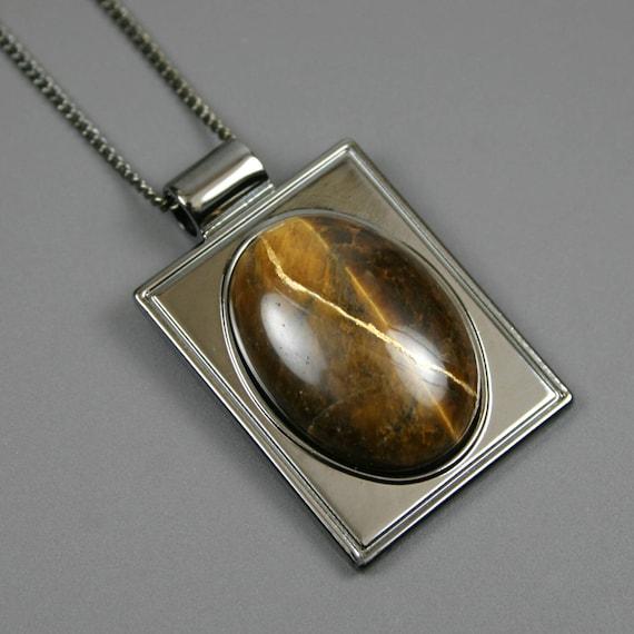 Kintsugi (kintsukuroi) tiger eye stone cabochon with gold repair in a rectangular gunmetal plated setting on gunmetal chain - OOAK