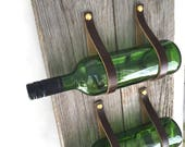 Three Bottle Wine Rack MWR77 barnwood leather wall mount wine storage