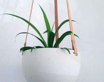 Hanging Planter in Ceramic and Recycled Leather