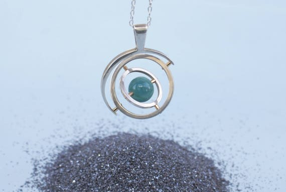 Sterling 5.0 Gyroscope with 14k gold and Amazonite