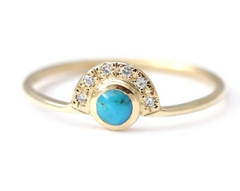 Turquoise Engagement Ring, Alternative Engagement Ring, Turquoise Diamond Ring, Gold Turquoise Ring, Natural Round Turquoise Ring