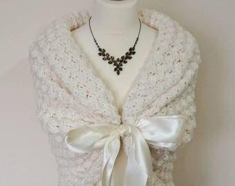 Ivory Bridal Shawl, Wedding Wrap, Bridal Cover Up, Wedding Bolero Shrug, Crochet Shawl, Ivory Capelet, Bridal Cape, Bridesmaid Shawl